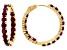 Pre-Owned Red ruby 18k gold over silver hoop earrings 11.56ctw