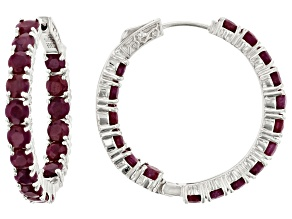 Pre-Owned Red Ruby Rhodium Over Silver Earrings 11.56ctw