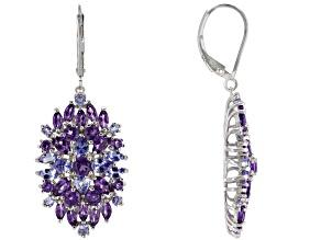 Pre-Owned Purple amethyst rhodium over silver earrings 5.45ctw