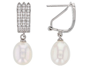 Pre-Owned 8-9mm White Cultured Freshwater pearl & Cubic Zirconia Rhodium Over Silver Earrings