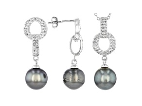 Pre-Owned 9-10mm Cultured Tahitian Pearl & White Topaz Rhodium Over Silver  Earrings & Pendant With