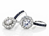 Pre-Owned Moissanite And Blue Sapphire Platineve Earrings 3.84ctw DEW.