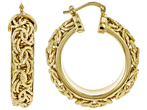 Pre-Owned 18k Yellow Gold Over Bronze 20mm Byzantine Link Hoop Earrings