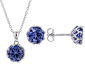 Pre-Owned Blue Cubic Zirconia Rhodium Over Sterling Silver Center Design Earrings & Pendant With Cha