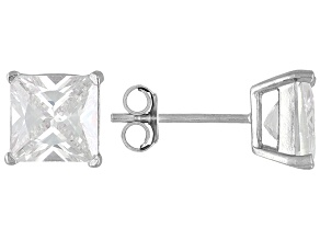 Pre-Owned Bella Luce® 5.40ctw 7x7mm Princess Cut Rhodium Over Sterling Silver Stud Earrings