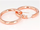 Pre-Owned Moda Al Massimo® 18k Rose Gold Over Bronze 51mm X 6mm Polished Hoop Earrings