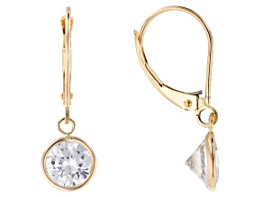 Pre-Owned White Cubic Zirconia 10k Yellow Gold Earrings 4.34ctw