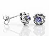 Pre-Owned Blue Tanzanite Rhodium Over Silver Earrings .49ctw