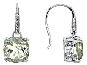Pre-Owned Green Brazilian Prasiolite Sterling Silver Dangle Earrings 6.90ctw