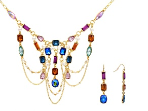 Pre-Owned Off Park ® Collection Multicolor Crystal Gold Tone Necklace And Earring Set
