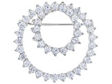 Pre-Owned White Cubic Zirconia Rhodium Over Sterling Silver Brooch 8.28ctw