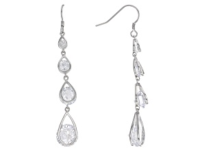Pre-Owned White Cubic Zirconia Rhodium Over Sterling Silver Earrings 20.20ctw