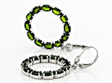 Pre-Owned Green Chrome Diopside Rhodium Over Silver Earrings 11.60ctw