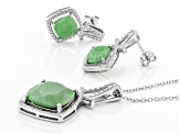 Pre-Owned Green chrysoprase rhodium over silver earring and pendant with chain set