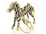 Pre-Owned  Multicolor Crystal Back Enamel Gold Tone Zebra Keychain