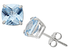 Pre-Owned Lab Created Aquamarine Sterling Silver Stud Earrings 4.08ctw