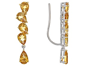 Pre-Owned Golden Citrine Sterling Silver Climber Earrings 6.12ctw