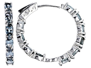 Pre-Owned Platinum Color Spinel Sterling Silver Hoop Earrings 4.25ctw