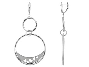 Pre-Owned 14k White Gold With Rhodium Hollow Heart Cut-Out Round Drop Dangle Earrings