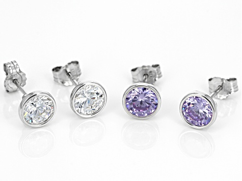 Pre-Owned Purple And White Cubic Zirconia Rhodium Over Sterling Silver Earrings 5.72ctw