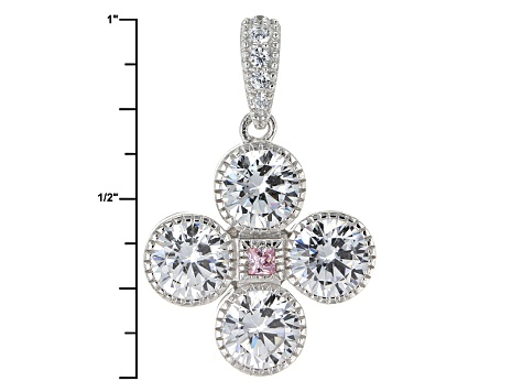 Pre-Owned Pink And White Cubic Zirconia Rhodium Over Sterling Silver Jewelry Set 12.22ctw