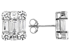 Pre-Owned White Cubic Zirconia Rhodium Over Sterling Silver Earrings 7.78ctw