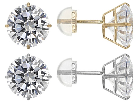 Pre-Owned White Cubic Zirconia 14k Yellow and White Gold Stud Earrings Set Of 2 13.70ctw