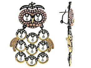 Pre-Owned Multicolor Crystal Gold Tone Gunmetal Tone Owl Earrings