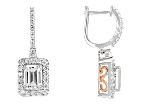 Pre-Owned White Cubic Zirconia Rhodium Over Silver & 18k Rose Gold Over Silver Earrings 4.90ctw