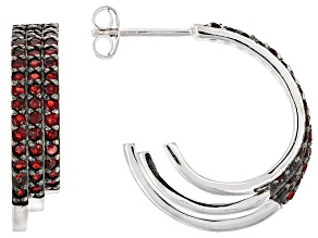 Pre-Owned Red Garnet Sterling Silver Hoop Earrings 1.40ctw