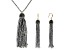 Pre-Owned Multicolor Crystal Silver Tone Crystal Bead Gold Tone Tassel Necklace And Earring Set