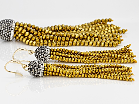Pre-Owned Multicolor Crystal Yellow Crystal Bead Gold Tone Tassel Necklace And Earring Set