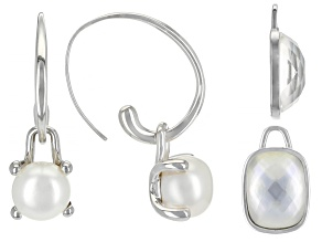 Pre-Owned Cultured Freshwater Pearl With Mother Of Pearl Rhodium Over Silver Earrings