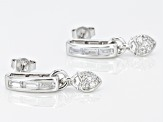 Pre-Owned White Cubic Zirconia Rhodium Over Sterling Silver Earrings 1.24ctw