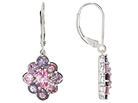 Pre-Owned Multi-color spinel rhodium over silver earrings 3.47ctw