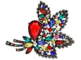 Pre-Owned Multicolor Crystal Gunmetal Tone Brooch