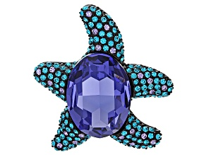 Pre-Owned Multicolor Swarovski Elements ™ Gunmetal Tone Starfish Brooch