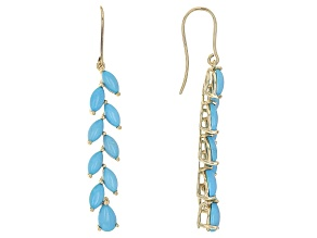 Pre-Owned Blue Turquoise 10k Yellow Gold Dangle Earrings.