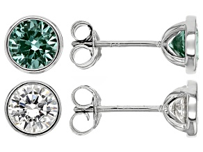 Pre-Owned Synthetic Green Spinel & White Cubic Zirconia Rhodium Over Silver Earrings 4.61ctw
