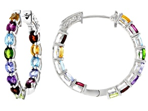 Pre-Owned Mixed-Gem Rhodium Over Silver Hoop Earrings 3.99ctw