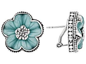 Pre-Owned Blue Quartzite Sterling Silver Flower Earrings
