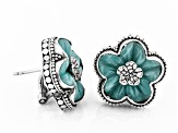 Pre-Owned Blue Quartzite Sterling Silver Flower Earrings