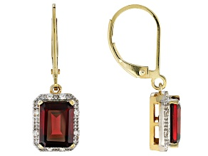 Pre-Owned Red Garnet 10k Yellow Gold Earrings 3.25ctw