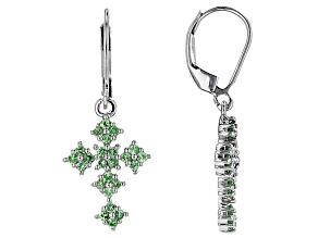 Pre-Owned Green Tsavorite Garnet Silver Earrings .70ctw