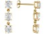 Pre-Owned 3.66ctw Round White Topaz 14k Yellow Gold 3-Stone Dangle Earrings