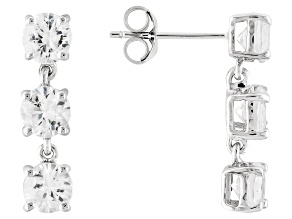 Pre-Owned White Zircon 14k White Gold 3-Stone Earrings 4.50ctw.