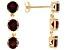 Pre-Owned 3.90ctw Round Vermelho Garnet™ 14k Yellow Gold 3-Stone Dangle Earrings