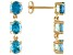 Pre-Owned 3.66ctw Round Swiss Blue Topaz 14k Yellow Gold Dangle Earrings