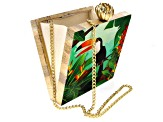 Pre-Owned Toucan Multi-color Wooden Clutch