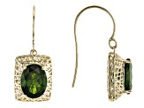 Pre-Owned Green Chrome Diopside 10k Yellow Gold Earrings 4.19ctw
